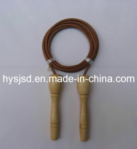Good Quality Speed Wood Jump Rope with Leather Jump Rope pictures & photos
