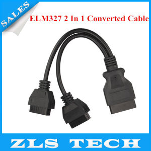 Elm327 2 in 1 Converted Cable OBD2 Extension Cable Free Shipping pictures & photos