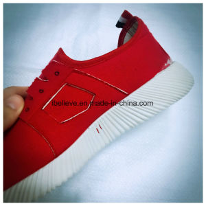 Women Sport Shoes with Red Upper and White PVC Outsole