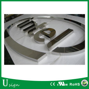 LED Advertising Mirror Finished Metal Letter with Acrylic Backing