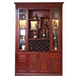Two Glass Frame with Cubicle and Opening Shelf American Red Cherry Wood Wine Rack