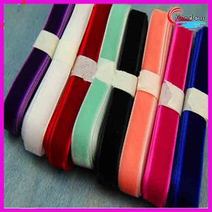 Colorful Single Face Velvet Ribbon pictures & photos