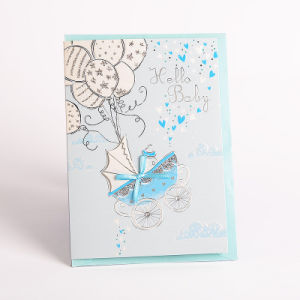 china silver foil 3d handmade hello baby boy greeting card designs
