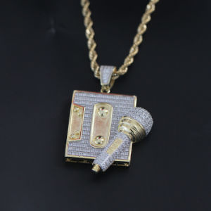 Iced out Mens Gold Hip Hop Tape Microphone Pendant Necklace Jewelry Mjhp146