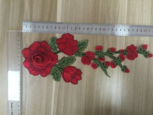 2017 3D Tridimensional Red Flower Patch/ Applique pictures & photos