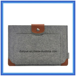New Promotional Wool Felt+ Genuine Leather Laptop Sleeve with Mouse Bag for Apple MacBook Air PRO, PRO Retina 13.3""