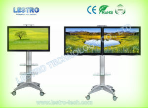 China Rolling Flat Panel Tv Stand L55t With Dual Glass Shelves And