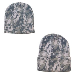 Digital Grey Camo Camouflage Warm Winter Hat Beanies (A731)