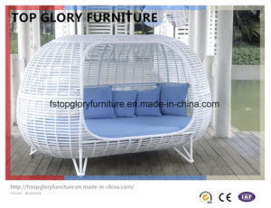 Romantic Outdoor Furniture Sun Loungers Wicker Daybed (TGLU-04)
