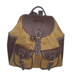 Canvas and Imitation Leather Backpack