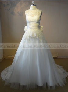 a-Line Ivory Applique Lace Wedding Dresses with Bow