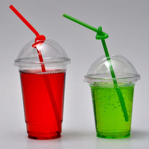 10oz 12oz 14oz 16oz 20oz 24oz Disposable Clear Plastic Cold Cup with Straw