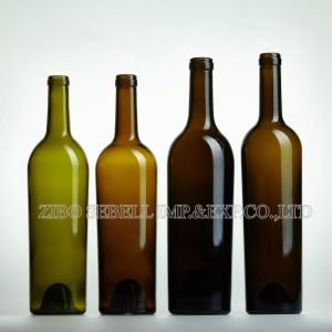 750ml Taper Shape Glass Wine Bottles with Cork Finish Top pictures & photos