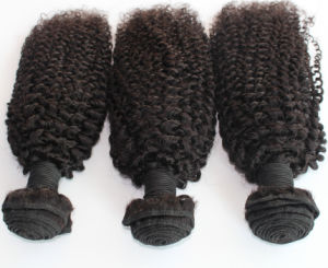 8A Remy Kinky Curl Natural Color Brazilian Human Hair Weft pictures & photos