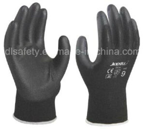 Black Nylon Work Glove with Black PU (PN8119) pictures & photos