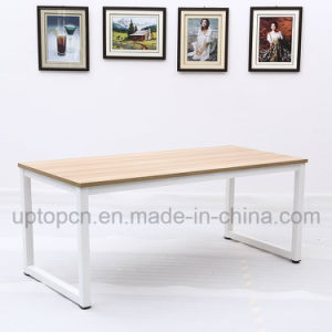 Minimalism Metal Frame Table with Wooden Table Top (SP-RT557) pictures & photos