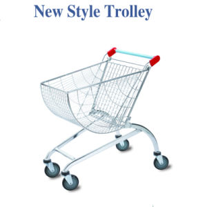 Chrome Steel Supermarket Wire Shopping Trolleys Cart