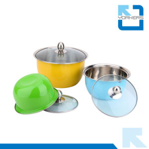 3PCS Colorful Stainless Steel Mixing/Salad Bowl with Cover pictures & photos