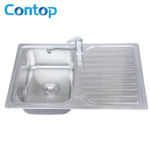 Topmount Single Bowl Stainless Steel Kitchen Sink with Drainer Board