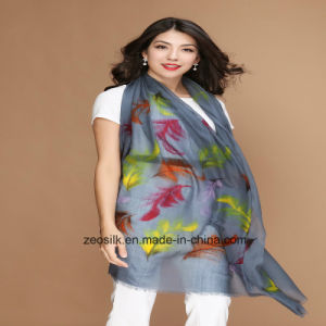 Printed Pure Wool Scarf for Winter