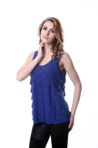 Layered Ruffle Cotton Women Plain Blue Tank Tops pictures & photos