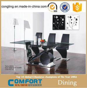 Glass Top Dining Table Base Stainless Steel Furniture (A8031)