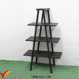 3 Tier A Frame Black Decorative Wooden Ladder Shelf