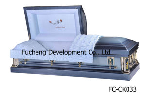 Best Selling MID-Night Blue Finish & Blue Crepe Interiors Casket & Coffin for Ameriacn Style (FC-CK033)