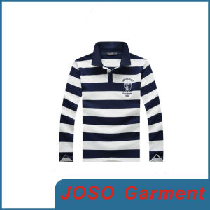 Men′s Autumn Long Sleeve T-Shirt Lapel Stripes (JS9018m) pictures & photos