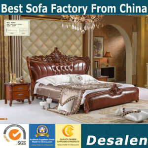 Brown Color Classic Bedroom Furniture Sets Royal Leather Bed (A909)