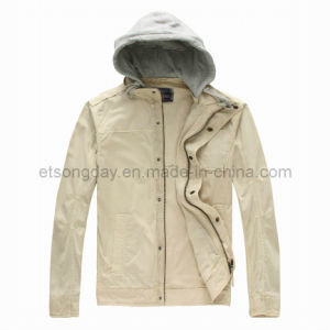 Cream-Coloured 100% Cotton Men′s Casual Jacket with Cotton Cap (RVWD-01) pictures & photos