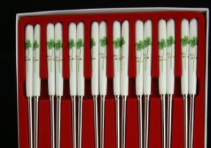 Stainless Steel Chopsticks with Porcelain Handle and Elegant Design