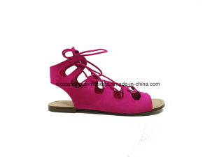Hot Selling Women Fashion Flat Heel Sandals with Peep Toe and Long Lace