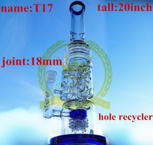 20inch Tall Wonderful Fuction with Three Perc Smoking Water Glass Pipe