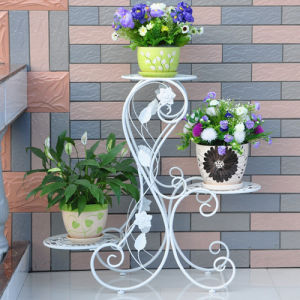 China Beautiful 3 Tiers Black/White/Antique Bronze Wrought Iron Plant Holder/Stand for Porch/House Metal Flower Pot Holder - China Wrought Iron Plant Holder ...