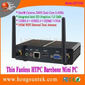 Ht710b Fanless HTPC Box PC with Intel Celeron J2850 2.4GHz 2.0GHz Quad Core 4 Threads Aluminum Alloy Metal Case