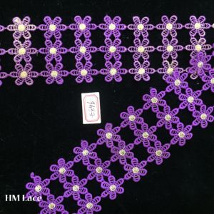 7.5cm Embroidery Lace Fabric with Three Lines Purple Flowers for Clothing Accessories Hme896 pictures & photos