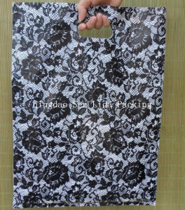 Printed Black Rose PE Die Cut Bags for Gift Packing