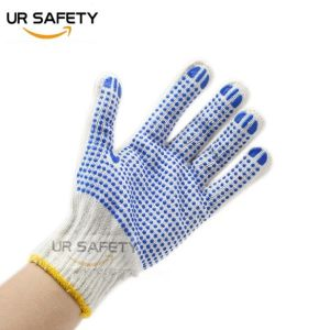 PVC Dotted Cotton Gloves, Bleached White PVC Dotted Hand Gloves  Manufacturers in China