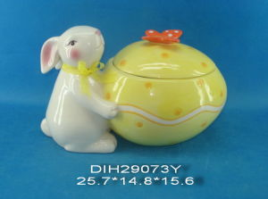 Easter Bunny with Ceramic Candy Jar pictures & photos