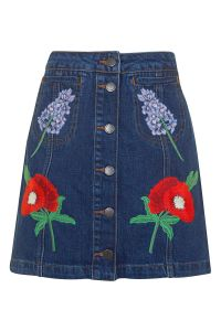 Fashion A-Line Skirt with Embroidery and Button Fly