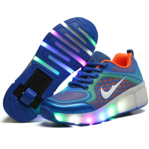 New Mould Fashion Ladies PU Upper High Top LED Sport Roller Skates Shoes pictures & photos