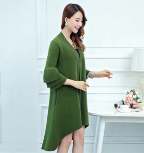 Lady Fashion Mink Cashmere Knitted Ruffle Sleeve Winter Cardigan (YKY2067) pictures & photos