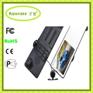 "HD 4.3"" LCD Dual Lens Dash Cam Video Recorder Night Vision Car Camera DVR 3 in 1 Rearview Mirror+Front Car DVR+Rear View"
