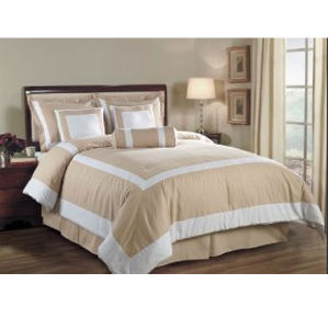 White and Taupe Hotel Duvet Comforter Cover 6PCS Bedding Set (DPFB8086) pictures & photos