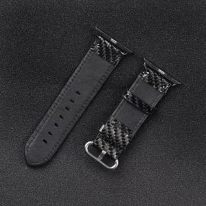 Fashion Style Carbon Fiber Smart Copper Leather Watch Band for Apple Watch