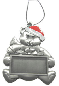 Keychain for Christmas Day with Bear, Blank in The Middle