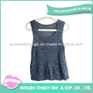 Hand Crochet Weaving Sweater Ladies Fashion Knitting Vest-02 pictures & photos
