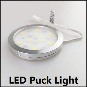 12V 5050 SMD LED Puck Light with Frosted or Milk Cover for DIY Cabinet Lighting