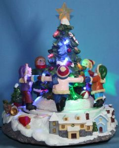 "9"" LED Scenery With Rotation Children&7-Color Snow Flashing Top Star.  (12014)"